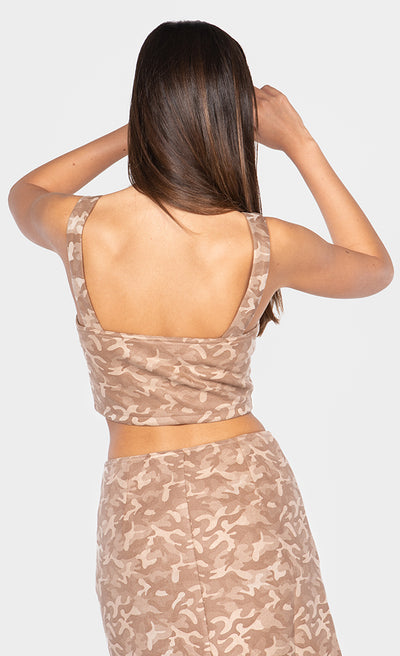 CAMO TANK FRONT ZIPPER CROP TOP