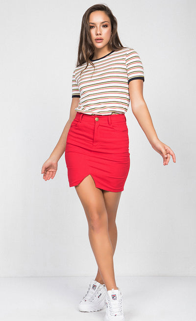 CONTRAST NECK STRIPED TEE-SHIRT