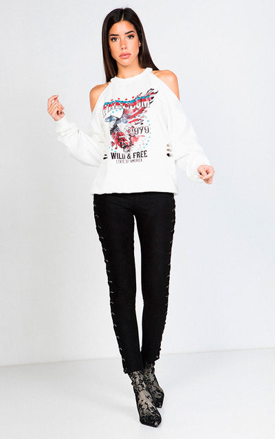 SHOULDER & BACK CUTOUTS USA GRAFIC LONG SLEEVE CREWNECK