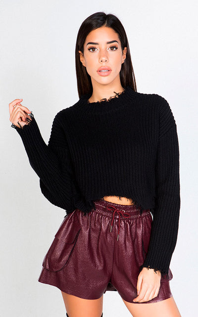 DISTRESSED CROPPED LONG SLEEVED SWEATER