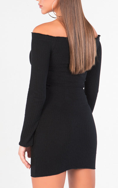 LONG SLEEVE OFF THE SHOULDER BUTTON DOWN BOYDCON DRESS