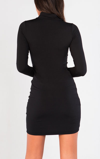 LONG SLEEVE CUTOUT TOP HIGH NECK BODYCON DRESS