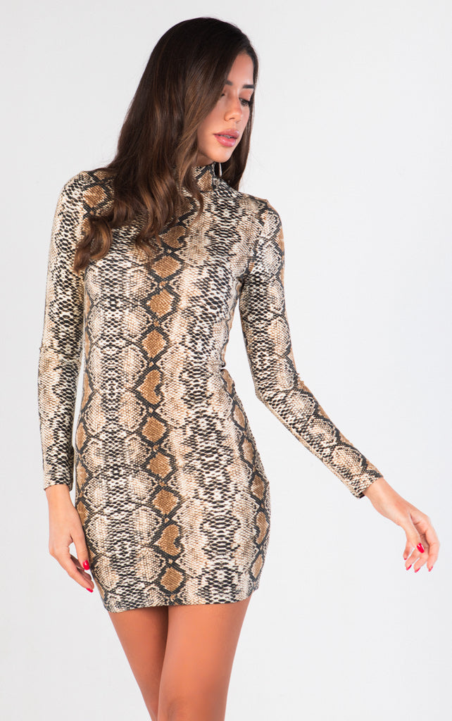HIGH NECK SNAKESKIN BODYCON DRESS