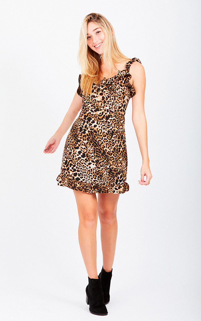 ANIMAL PRINT RUFFLED MINI DRESS
