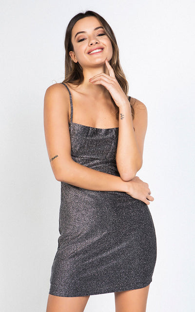 GLITTER BACKLESS MINI DRESS
