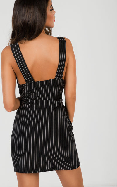 PINSTRIPE SLEEVELESS JUMPER DRESS