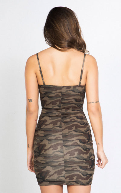 CAMO PRINT BODYCON DRESS