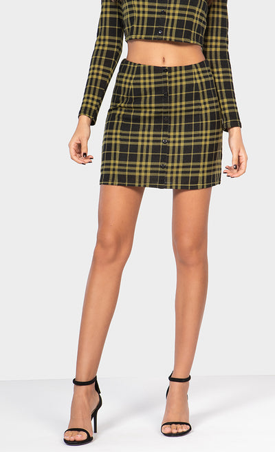 BUTTON-DOWN PLAID MINI SKIRT