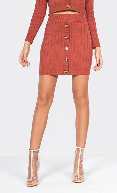 BUTTON-DOWN SWEATER MINI SKIRT