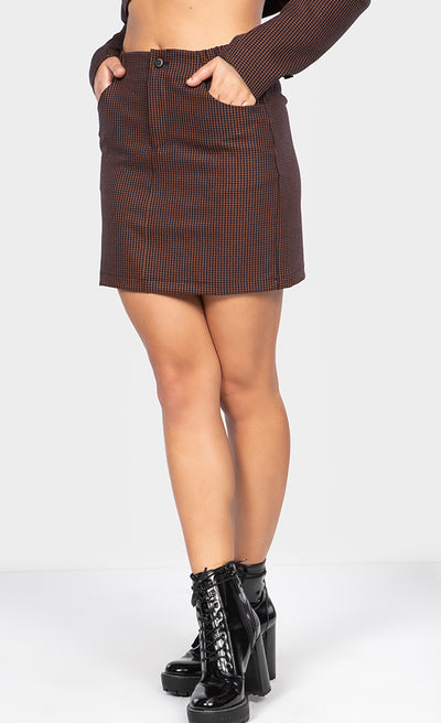 PLAID PRINT WAIST ELASTIC MINI SKIRT