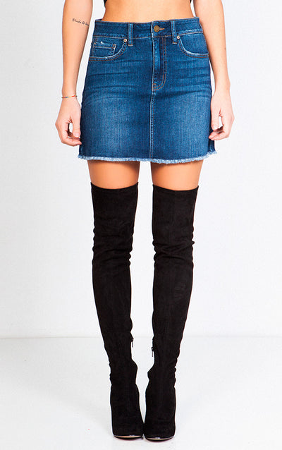 A-LINE RAW-CUT DENIM SKIRT