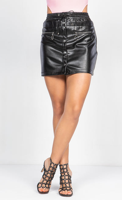 FAUX LEATHER BUTTON UP MINI SKIRT