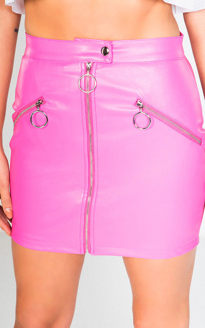 FAUX LEATHER ZIP UP MINI SKIRT