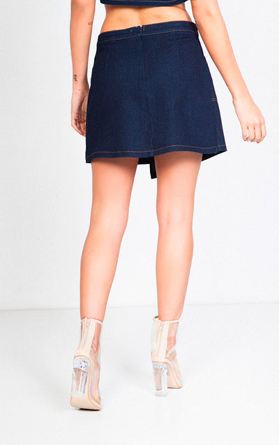 DENIM HIGH WAISTED ASYMMETRICAL SKIRT
