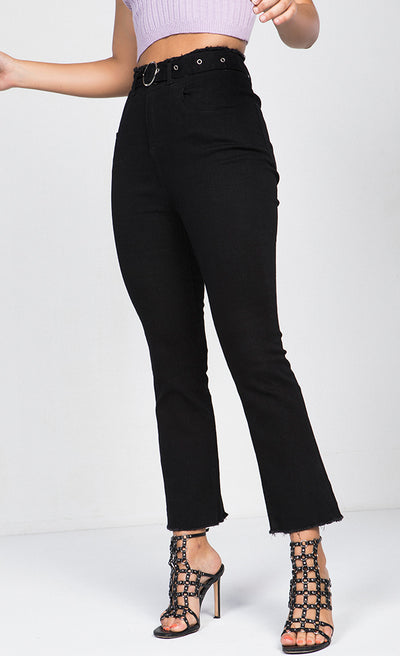HIGH RISE RING BELT CROP FLARE JEANS
