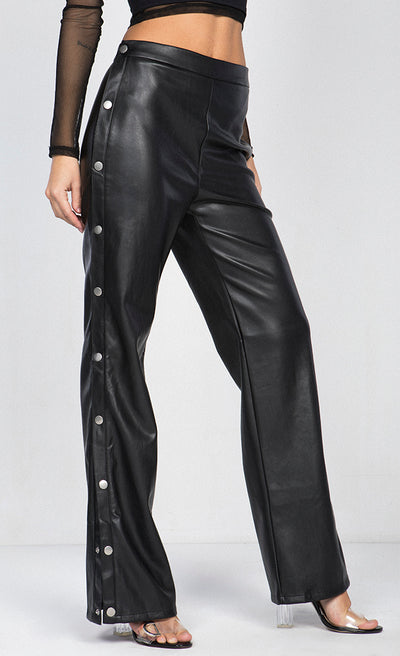 SIDE SNAPBUTTON FAUX LEATHER WIDE LEG PANTS