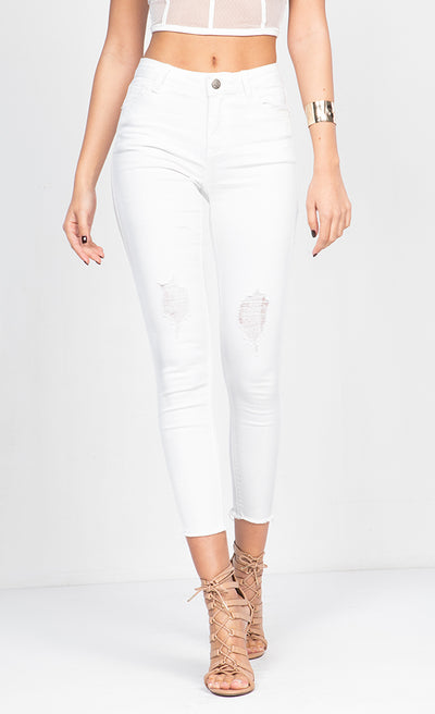 HIGH RISE DESTRUCTED ANKLE  SKINNY JEANS
