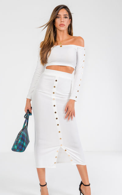 CO-ORDS BODYCON SKIRT OFF SHOULDER LONG SLEEVE CROP TOP