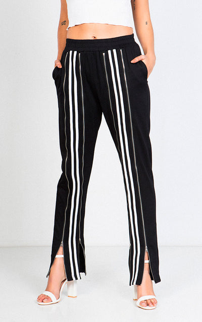 STRIPED FRONT ZIP JOGGER PANTS