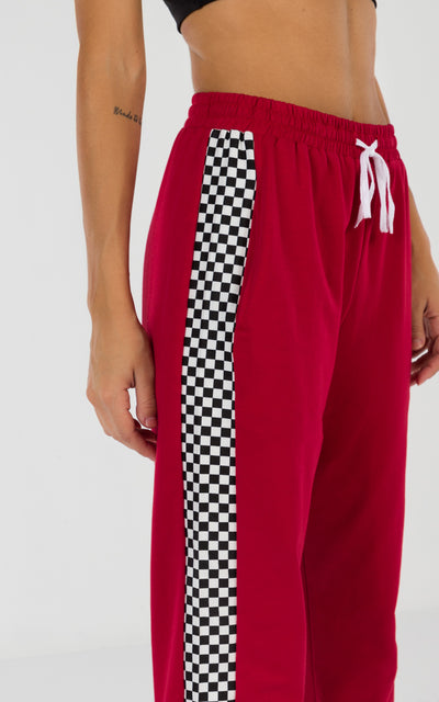 RACE CHECKERED TRACKPANTS