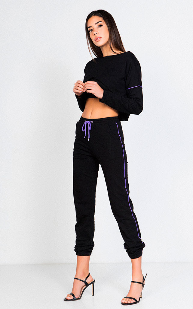 KNIT TERRY CONTRAST SWEATPANTS