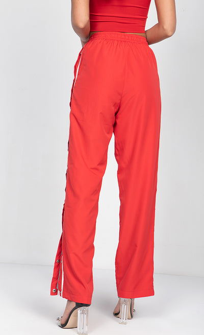 HIGH WAISTED DRAWSTRING TRACK PANTS