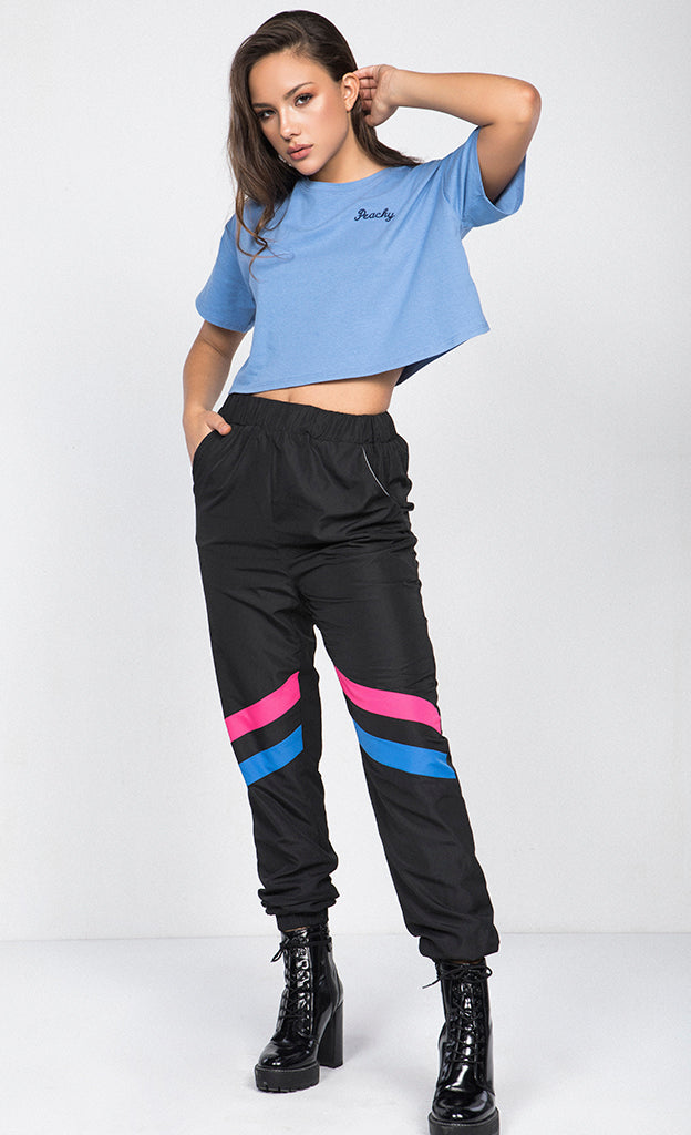 HIGH WAISTED WINDBREAKER JOGGER PANTS