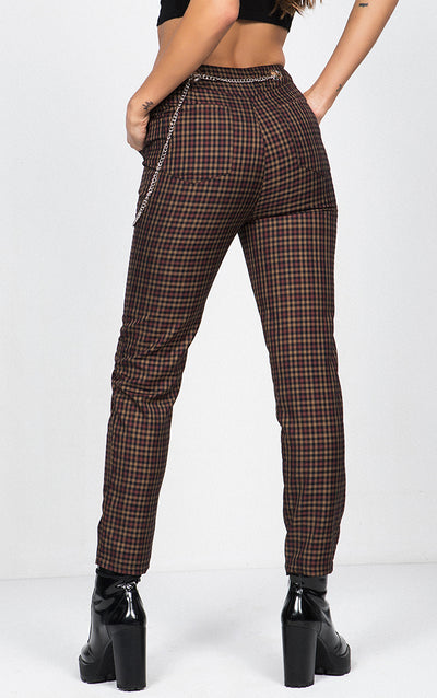 PLAID CROPPED TROUSERS WITH CHAIN DETAIL