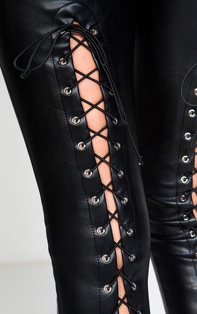 FAUX LEATHER PANTS WITH LACE UP DETAIL