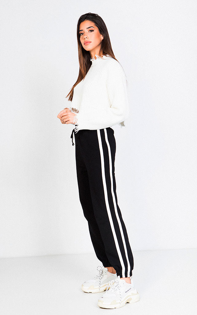 ELASTIC WAIST DRAWSTRING CONTRAST SIDE-STRIPE TRACKPANTS