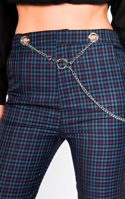PLAID PANTS WITH CHAIN DETAIL