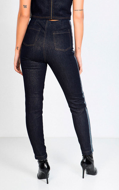 FRONT ZIP SHINNY DENIM PANTS WITH SIDESTRIPE