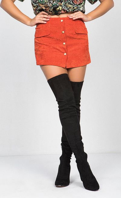 BUTTON-DOWN SIDE POCKET MINI SKIRT