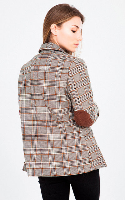 PLAID ELBOW PATCH BLAZER