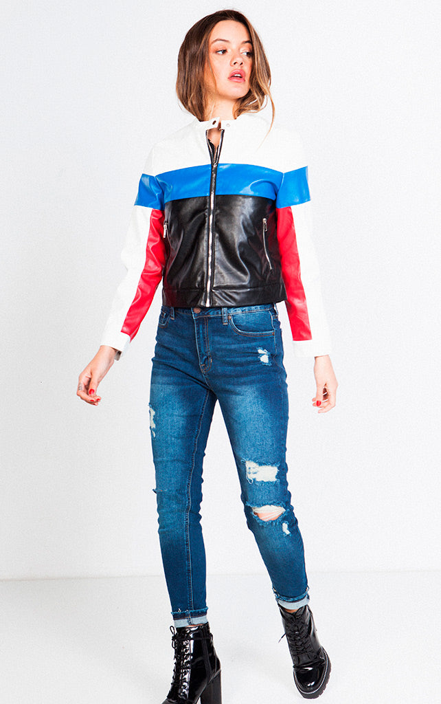 FAUX LEATHER COLORBLOCK RIDER JACKET