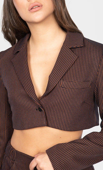 PLAID PRINT CROPPED BLAZER