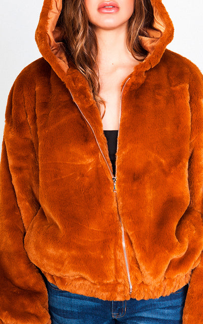 FAUX FUR HOODED BOMBER JACKET