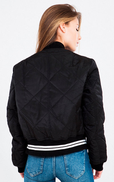 QUILTED VARSITY BOMBER JACKET