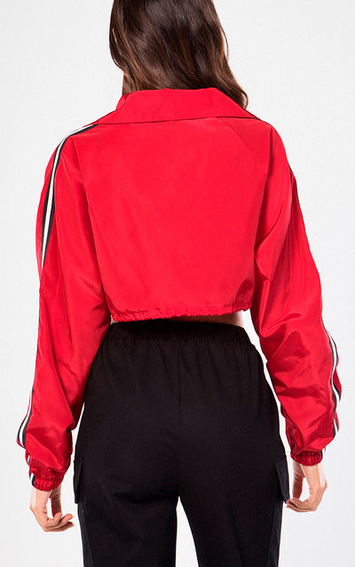 CROPPED SNAP FRONT WINDBREAKER JACKET