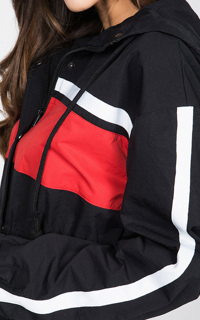 COLOR BLOCK CROPPED WINDBREAKER JACKET