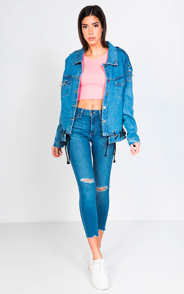 STUDDED AND LACE UP DENIM JACKET