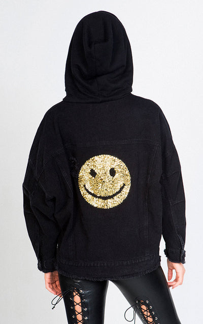 HOODED DENIM JACKET WITH SMILEY FACE GRAPHIC