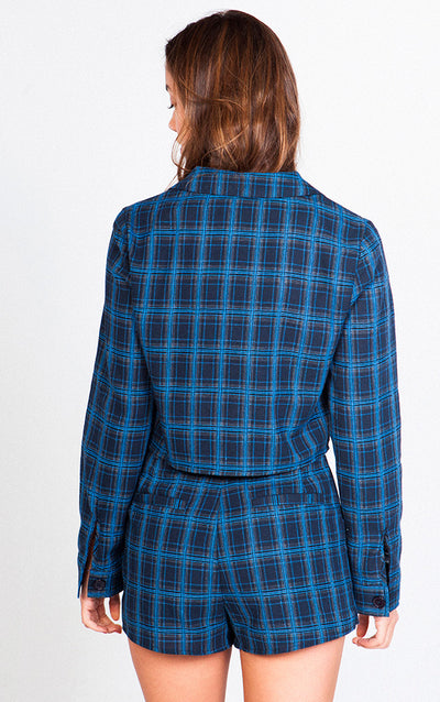 PLAID BLAZER NAVY
