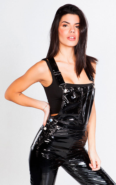 PATENT LEATHER  OVERALLS PANTS