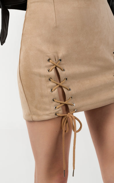 LACE UP FAUX SUEDE PENCIL SKIRT