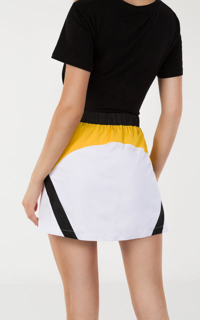 FRONT BUTTON COLOR BLOCK SKIRT