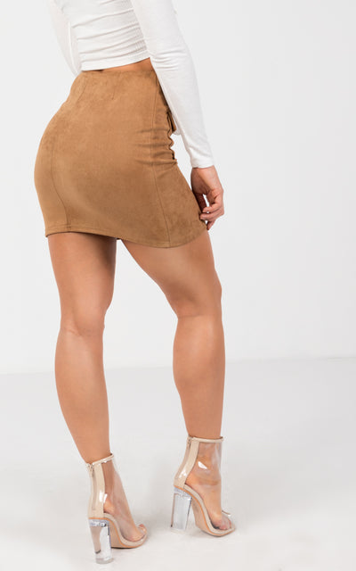 FAUX SUEDE FRONT ZIP MINI SKIRT