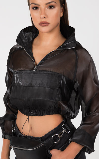 ZIP UP CROPPED WINDBREAKER HOODIE