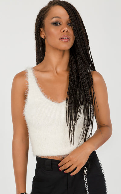 FLUFFY KNIT CROPPED TANK TOP