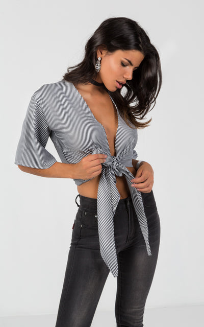 TIED FRONT CROPPED BLOUSE